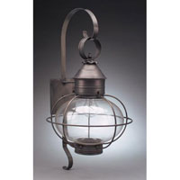 Northeast Lantern  Caged Onion Wall Dark Brass Medium Base Socket Clear Glass Extended Scroll 2541-DB-MED-CLR-EXT
